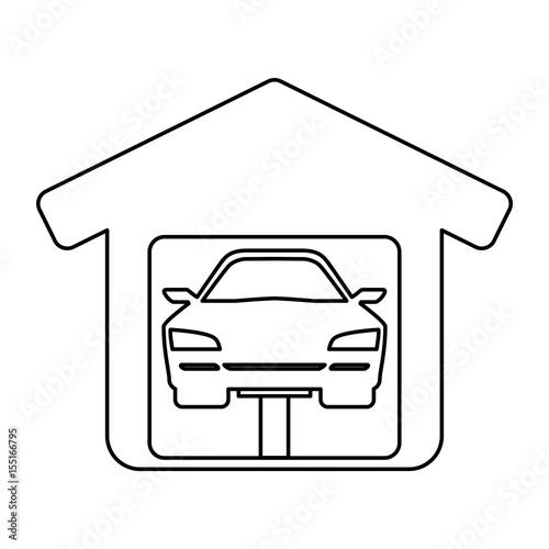 Garage Door Mechanic Icon Vector Illustration Graphic Design Stock
