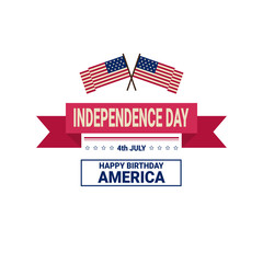 United States Flag Independence Day Holiday 4 July Banner Retro Greeting Card Flat Vector Illustration