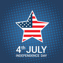 United States Flag Star Independence Day Holiday 4 July Banner Flat Vector Illustration