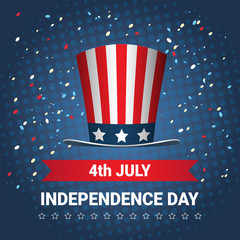 United States Flag Colored Hat Independence Day Holiday 4 July Banner Flat Vector Illustration