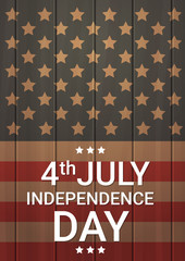 United States Flag Wooden Texture Independence Day Holiday 4 July Banner Vector Illustration