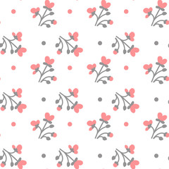 Colorful Flowers On White Background Seamless Pattern Vector Illustration
