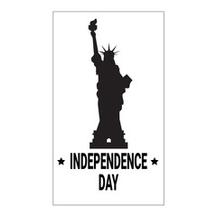 Silhouette Liberty Statue Independence Day Holiday 4 July Banner Vector Illustration