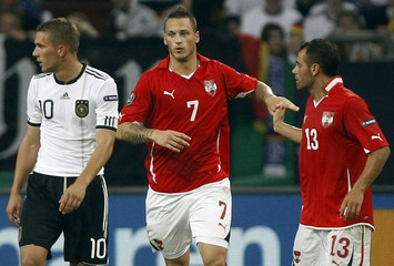 Austria's Arnautovic celebrates a goal with Dag during their Euro 2012 Group A qualifying soccer match against Germany in Gelsenkirchen