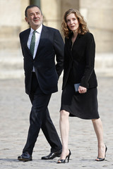 "Nathalie Kosciusko-Morizet, deputy of French political party ""The Republicans"", and mayor of Paris first district Jean-Francois Legaret arrive to attend the funeral of late former French right-wing politician Charles Pasqua at the Invalides in Paris"