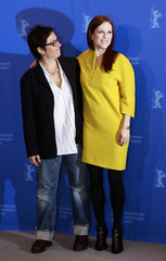 Director Cholodenko and actress Moore pose during photocall at Berlinale International Film Festival in Berlin