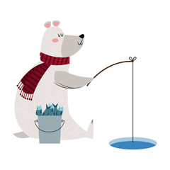 christmas bear fishing bukcet fish rod ice image vector illustration