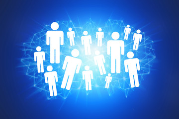 Group of icon people on a technologic background - Network concept