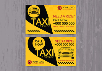 Taxi Service Business Card Layout 1