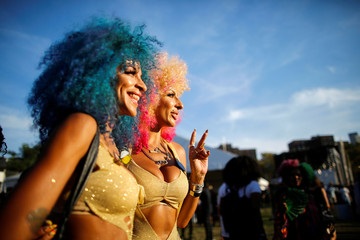 People take part in the Annual Afropunk Music festival in the borough of Brooklyn in New York