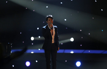 "Harel Skaat from Israel performs his song ""Milim"" during semi-final two of the Eurovision Song Contest in Oslo"