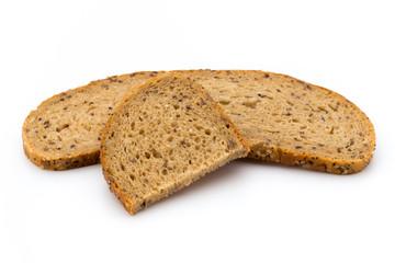 Rye bread slice isolated on white background.