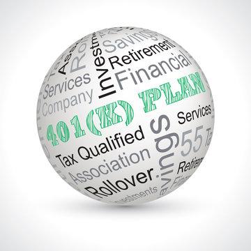 401 k plan theme sphere with keywords