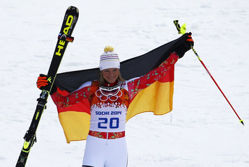 Germany's Hoefl-Riesch celebrates winning the women's alpine skiing super combined event at the 2014 Sochi Winter Olympics