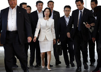 Japan's Justice Minister Midori Matsushima leaves PM Shinzo Abe's official residence after a meeting with Abe in Tokyo