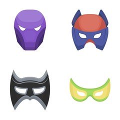 Mask on the head and eyes. Super Hero Mask set collection icons in cartoon style vector symbol stock illustration web.