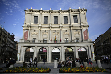 A general view shows the Teatro Real (Royal Theatre), a major opera house, at Plaza de Oriente (Oriente square) in Madrid, Spain
