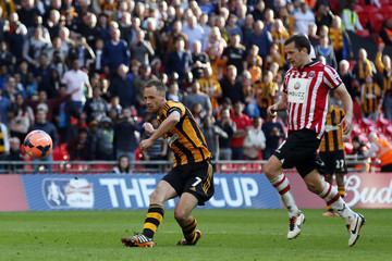 Hull City's Meyler shoots and scores against Sheffield United during their English FA Cup semi-final soccer match at Wembley Stadium in London