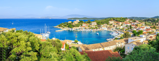 Panorama of Kassiopi, town in Corfu, Greece