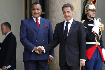 France's President Sarkozy welcomes Congo's President N'Guesso at the Elysee Palace in Paris