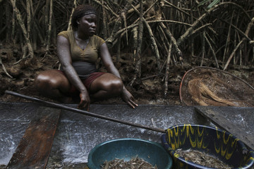 A woman coated in oil perches near a mangrove after fishing in a creek near the River Nun in Nigeria's oil state of Bayelsa