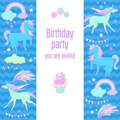 Happy birthday holiday card with rainbow, unicorn, cloud and fireworks
