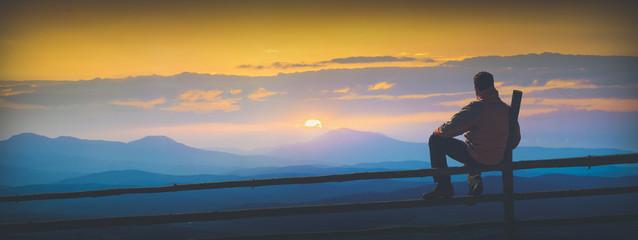 Enjoy sunrise in mountain valley. Instagram stylisation Wall mural