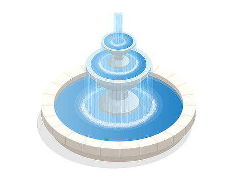 Beautiful three-level round fountain. A zone of rest and relaxation. Flat vector isometric on white background