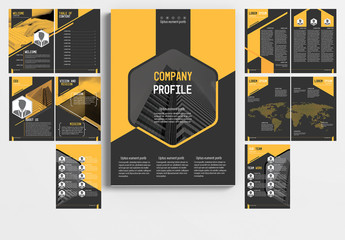 Multi-Page Brochure Layout with Gray and Orange Accents 1