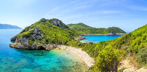 A panorama of Porto Timoni beach in Corfu, Greece