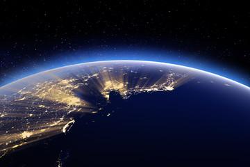 Japan, Korea, Taiwan, China. Elements of this image furnished by NASA