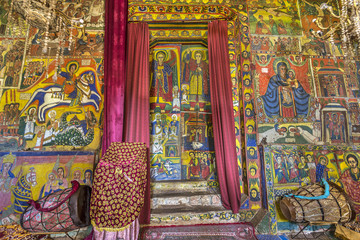Ethiopia. Zege Peninsula in Lake Tana. Interior of Ura Kidane Mehret Church decorated with numerous painted frescoes