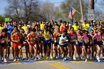 Elite women runners start the 114th running of the Boston Marathon in Hopkinton