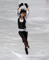 Leonova of Russia performs during her women's short programme at the European Figure Skating Championships in Sheffield