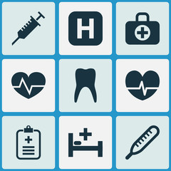 Drug Icons Set. Collection Of Hospital, Beating, Analyzes And Other Elements. Also Includes Symbols Such As Beating, Healthy, Data.