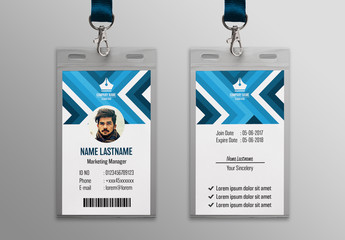 Blue Patterned ID Card Layout