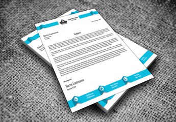Blue and White Letterhead Layout