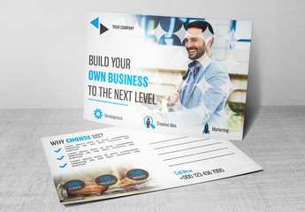 Blue and White Business Postcard Layout 1