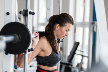 Female sportsman with a stunning figure working out in gym. A female fitness instructor doing exercises. Fitness club gym training lifestyle commercial concept.