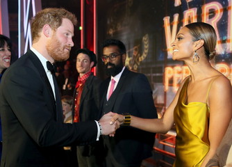 Britain's Prince Harry greets Alesha Dixon after the Royal Variety Performance at the Albert Hall in London