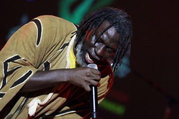 Ivorian reggae singer Tiken Jah Fakoly performs during the Carthage International Festival at the Carthage Roman ruins in Tunis