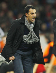 Bayer Leverkusen's coach Dutt reacts during their Champions League Group E soccer match against FC Valencia in Leverkusen
