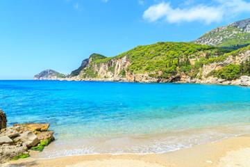 View of a Limni beach in Corfu, Greece