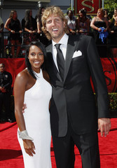 NBA basketball player Dirk Nowitzki and girlfriend Jessica Olsson arrive at the 2011 ESPY Awards in Los Angeles