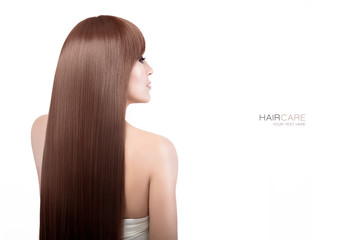 Woman with gorgeous long brown healthy hair