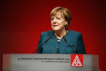 German Chancellor Merkel addresses an IG Metall union annual conference in Frankfurt