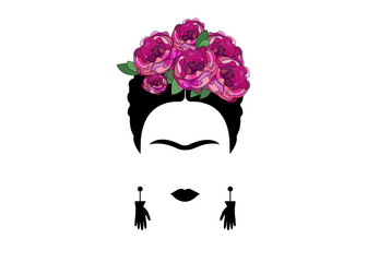 portrait of Mexican or Spanish woman minimalist Frida with earrings hands and flowers, vector isolated