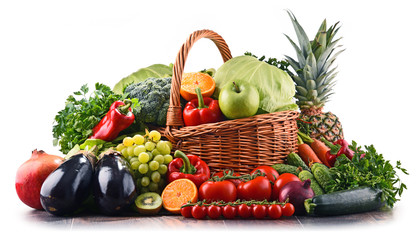 Assorted raw organic vegetables and fruits Wall mural