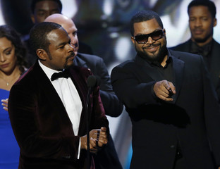 """Director Gray accepts the award for Outstanding Motion Picture for """"Straight Outta Compton"""" with producer Ice Cube at the 47th NAACP Image Awards in Pasadena"""