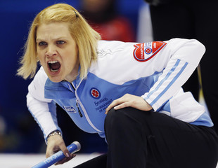 Quebec skip Ross calls a shot against New Brunswick during the 11th draw at Scotties Tournament of Hearts curling championship in Kingston